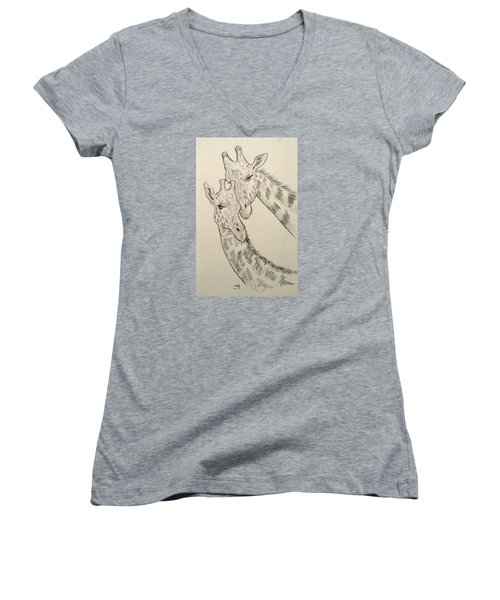 Women's V-Neck featuring the drawing Motherly Knudge by Jennifer Hotai