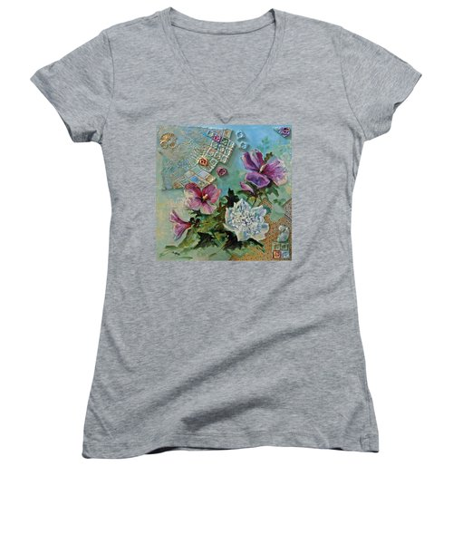 Women's V-Neck T-Shirt (Junior Cut) featuring the painting Mothers Althea by Suzanne McKee