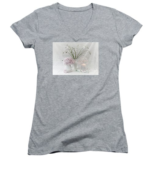 Mother...tell Me Your Memories Women's V-Neck T-Shirt (Junior Cut) by Sherry Hallemeier