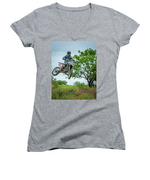 Women's V-Neck T-Shirt (Junior Cut) featuring the photograph Motocross Aerial by David Morefield