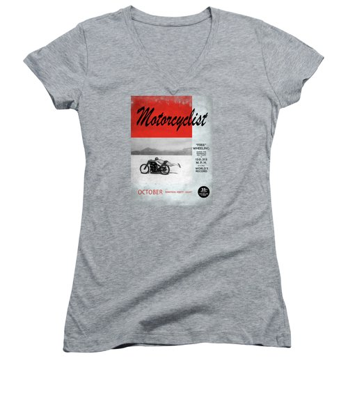Motorcyclist Magazine - Rollie Free Women's V-Neck T-Shirt (Junior Cut) by Mark Rogan