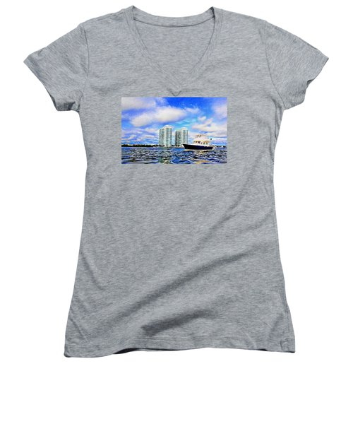 Motoring Past The Marina Grande Women's V-Neck T-Shirt (Junior Cut) by Alice Gipson