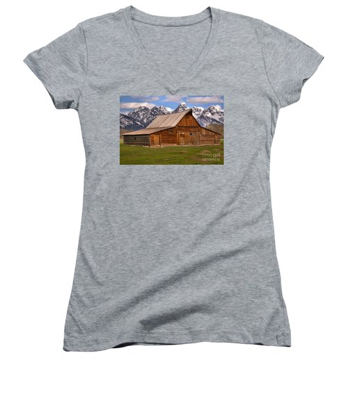 Moulton Barn Spring Landscape Women's V-Neck T-Shirt (Junior Cut) by Adam Jewell