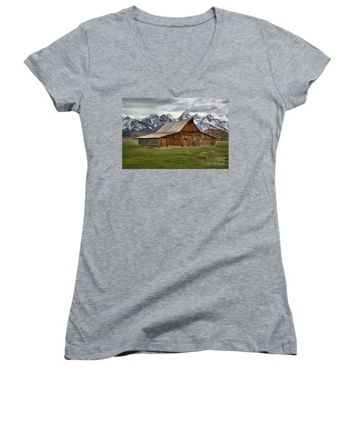 Moulton Barn Spring Storms Women's V-Neck T-Shirt (Junior Cut) by Adam Jewell