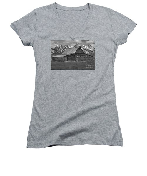 Moulton Barn Springtime Black And White Women's V-Neck T-Shirt (Junior Cut) by Adam Jewell