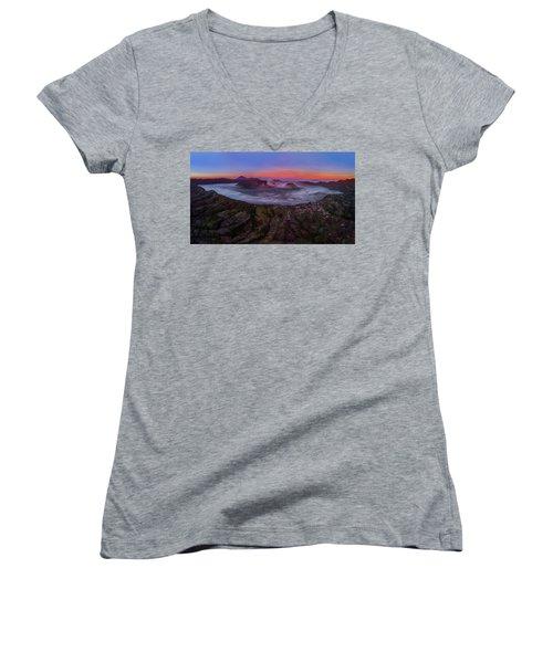 Mount Bromo Misty Sunrise Women's V-Neck