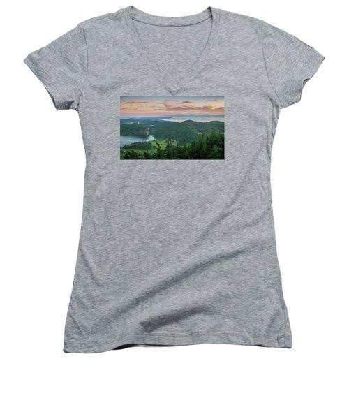 Women's V-Neck T-Shirt (Junior Cut) featuring the photograph Mount Erie Viewpoint by Ken Stanback
