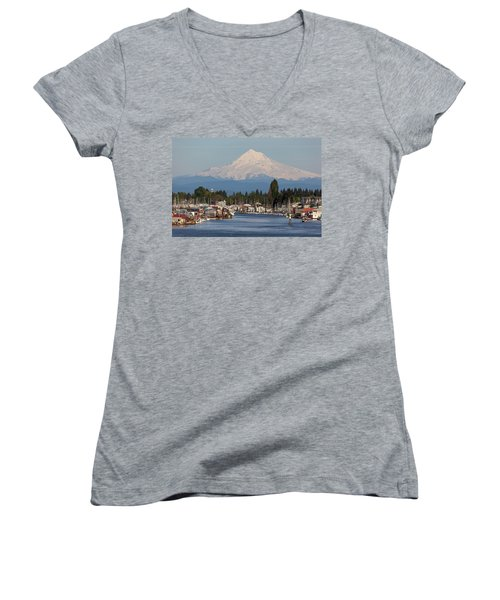 Mount Hood And Columbia River House Boats Women's V-Neck T-Shirt