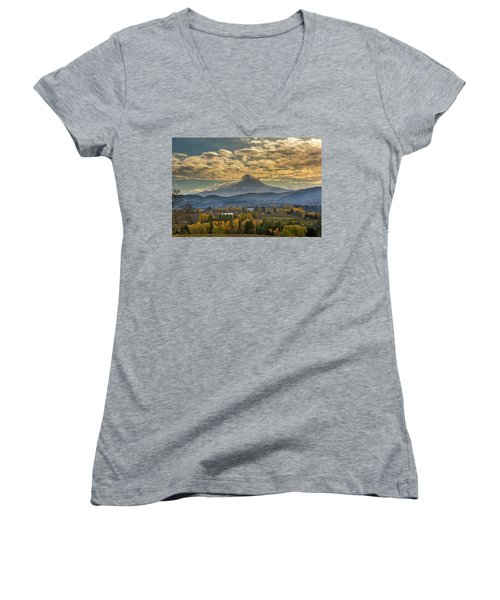 Mount Hood Over Farmland In Hood River In Fall Women's V-Neck (Athletic Fit)