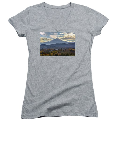 Mount Hood Over Hood River Valley In Fall Women's V-Neck T-Shirt