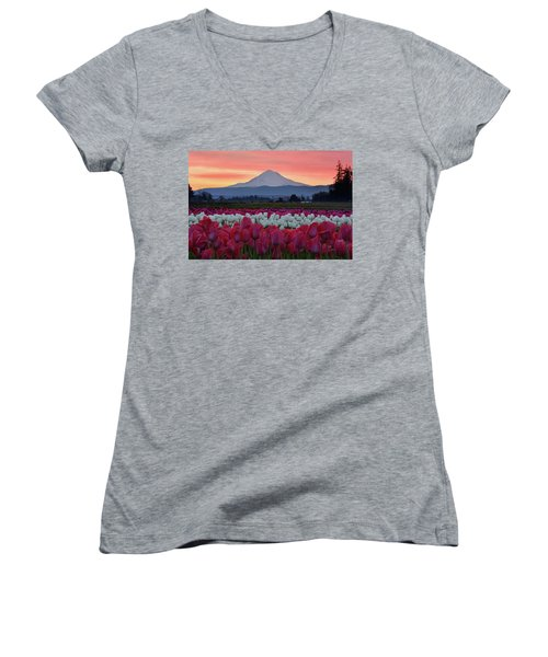 Mount Hood Sunrise With Tulips Women's V-Neck T-Shirt