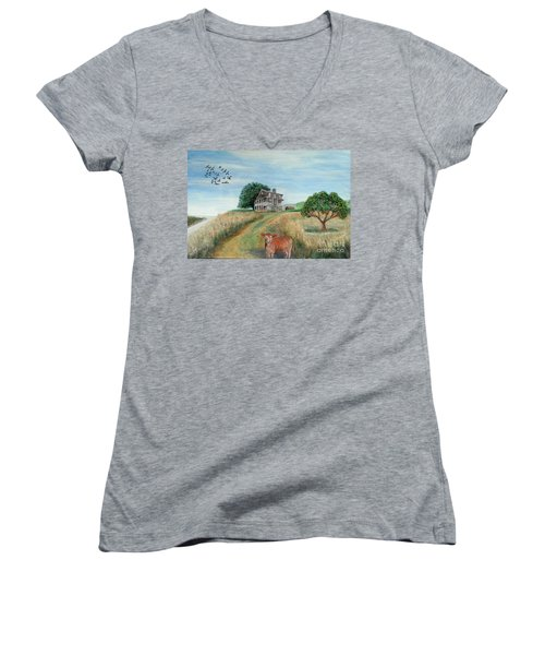 Mount Hope Plantation Women's V-Neck T-Shirt (Junior Cut) by Lyric Lucas