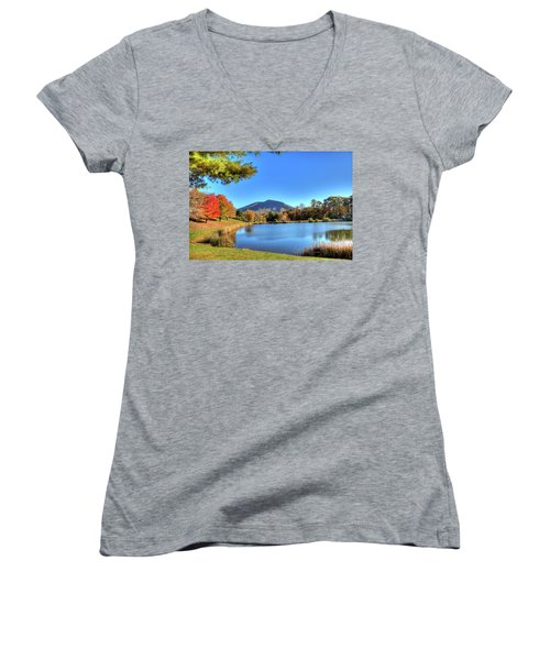 Mount Jefferson Reflection Women's V-Neck T-Shirt (Junior Cut) by Dale R Carlson