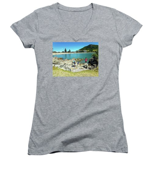 Mount Maunganui Beach 12 - Tauranga New Zealand Women's V-Neck