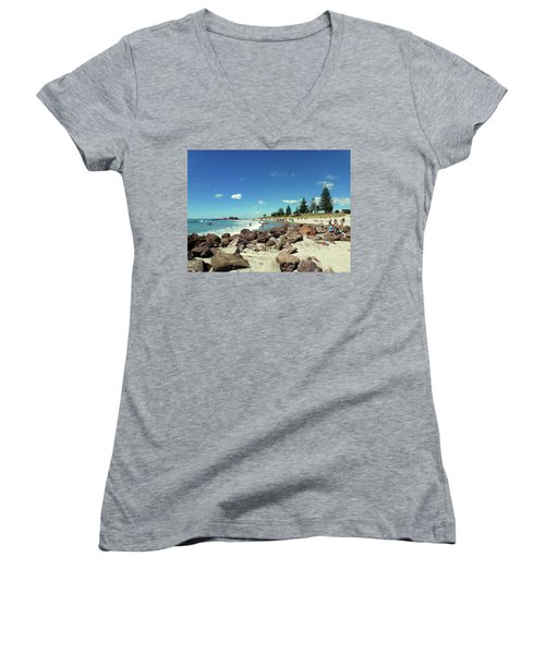 Mount Maunganui Beach 2 - Tauranga New Zealand Women's V-Neck