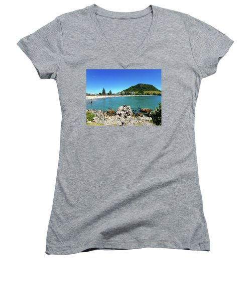 Mount Maunganui Beach 8 - Tauranga New Zealand Women's V-Neck