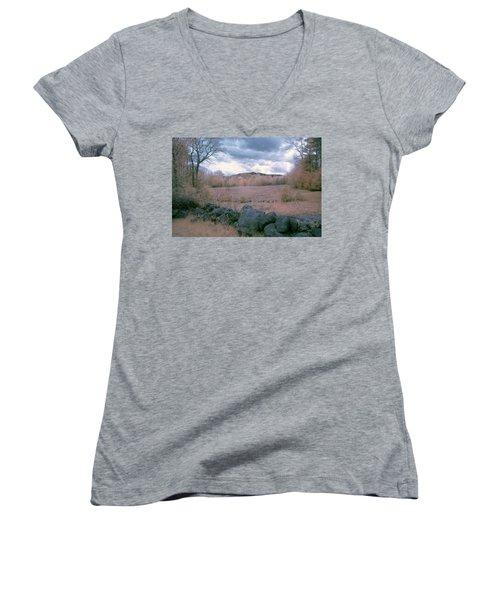Mount Monadnock In Infrared Women's V-Neck T-Shirt (Junior Cut) by Tom Singleton