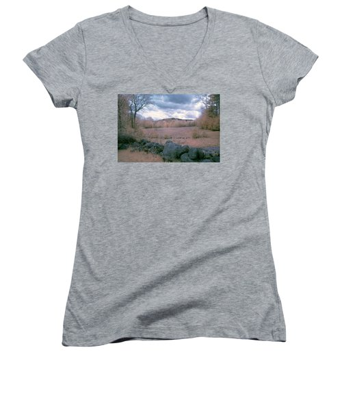Mount Monadnock In Infrared Women's V-Neck