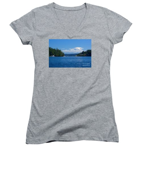 Mount Rainier Lenticular Women's V-Neck T-Shirt (Junior Cut) by Sean Griffin