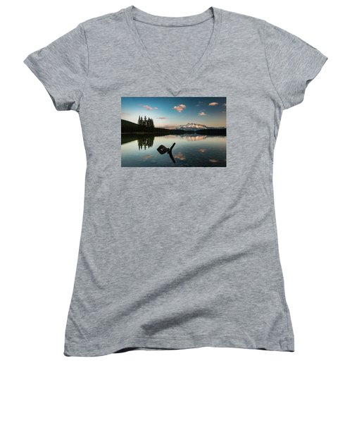 Mount Rundle And Two Jack Lake Women's V-Neck (Athletic Fit)