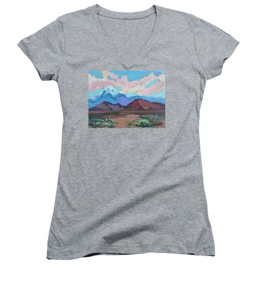 Women's V-Neck T-Shirt (Junior Cut) featuring the painting Mount San Gorgonio by Diane McClary
