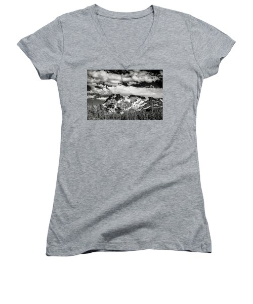 Women's V-Neck T-Shirt (Junior Cut) featuring the photograph Mount Shuksan Under Clouds by Jon Glaser