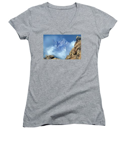 Women's V-Neck featuring the photograph Mount Whitney Clearing Storm Eastern Sierras California by Dave Welling