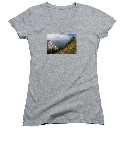 Mountain And Beach Women's V-Neck (Athletic Fit)