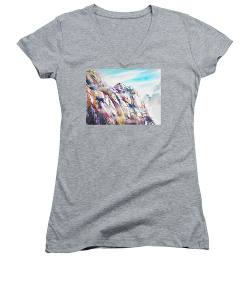 Mountain Awe #1 Women's V-Neck T-Shirt (Junior Cut) by Betty M M Wong