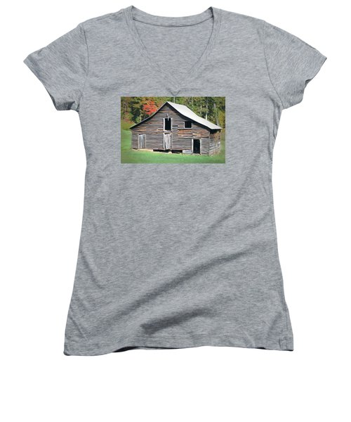 Women's V-Neck T-Shirt (Junior Cut) featuring the photograph Mountain Barn by Marion Johnson