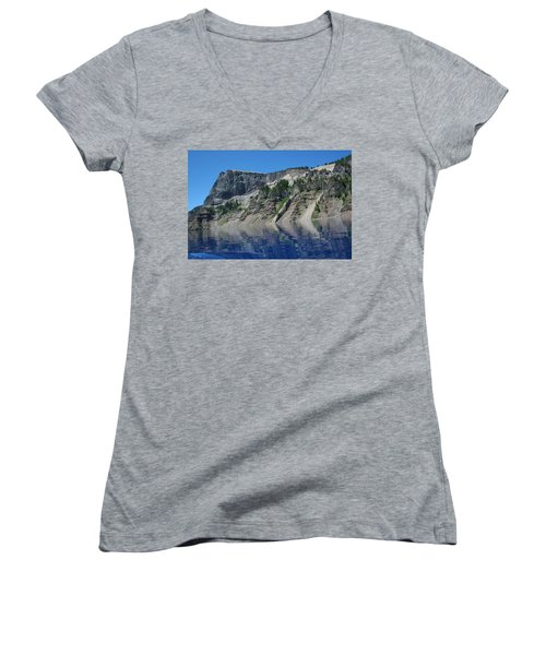 Women's V-Neck T-Shirt (Junior Cut) featuring the photograph Mountain Blue by Laddie Halupa