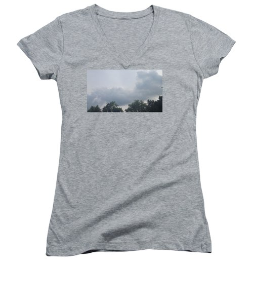 Mountain Clouds 4 Women's V-Neck T-Shirt (Junior Cut) by Don Koester