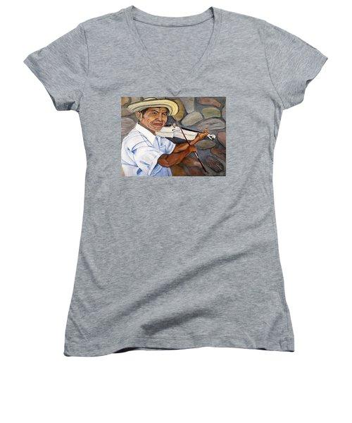 Mountain Fiddler Women's V-Neck T-Shirt (Junior Cut) by Marilyn McNish