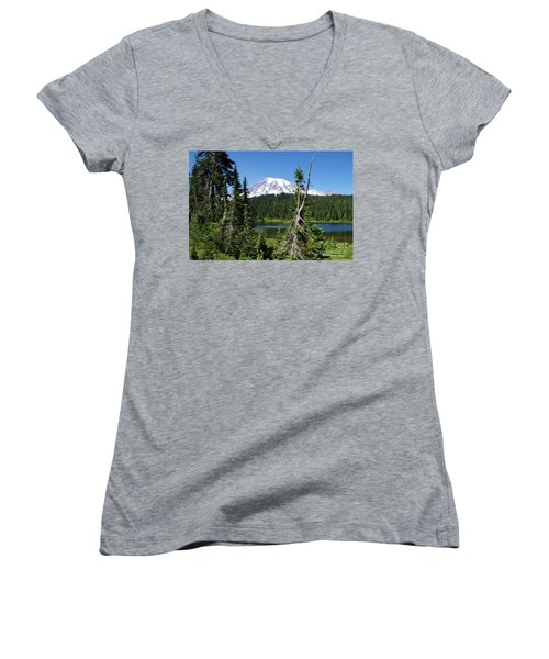 Mountain Lake And Mount Rainier Women's V-Neck T-Shirt
