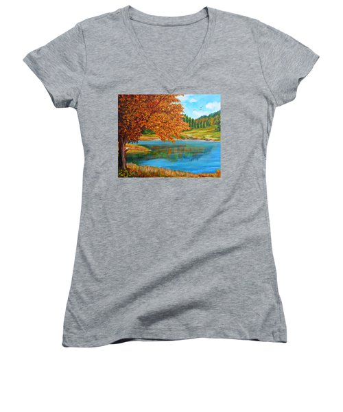 Mountain Lake In Greece Women's V-Neck (Athletic Fit)