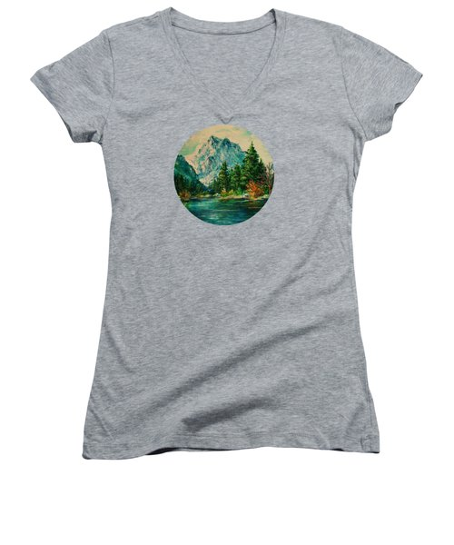 Mountain Lake Women's V-Neck T-Shirt (Junior Cut) by Mary Wolf