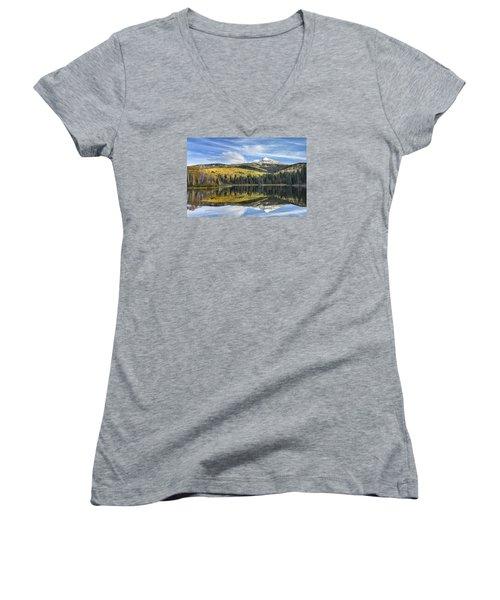 Mountain Lake Reflection Women's V-Neck