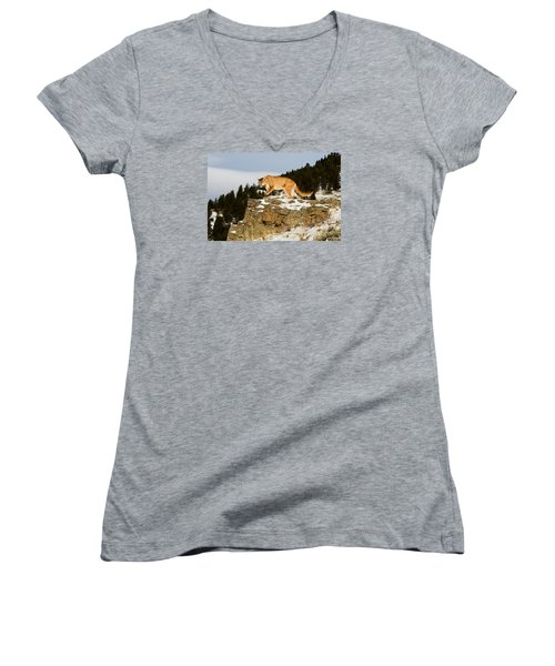Mountain Lion On Rocks Women's V-Neck (Athletic Fit)