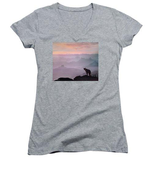 Mountain Lion Women's V-Neck T-Shirt (Junior Cut) by Tim Fitzharris
