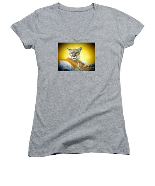 Mountain Lion Two Women's V-Neck T-Shirt (Junior Cut) by Suzanne Handel