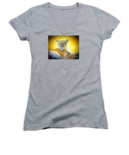Mountain Lion Two Women's V-Neck T-Shirt