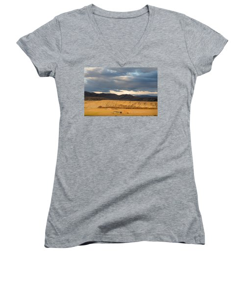 Mountain Meadow And Hay Bales In Grand County Women's V-Neck T-Shirt (Junior Cut) by Carol M Highsmith