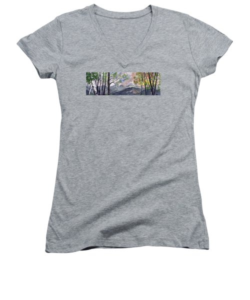 Women's V-Neck T-Shirt (Junior Cut) featuring the digital art Mountain Morning by Terry Cork
