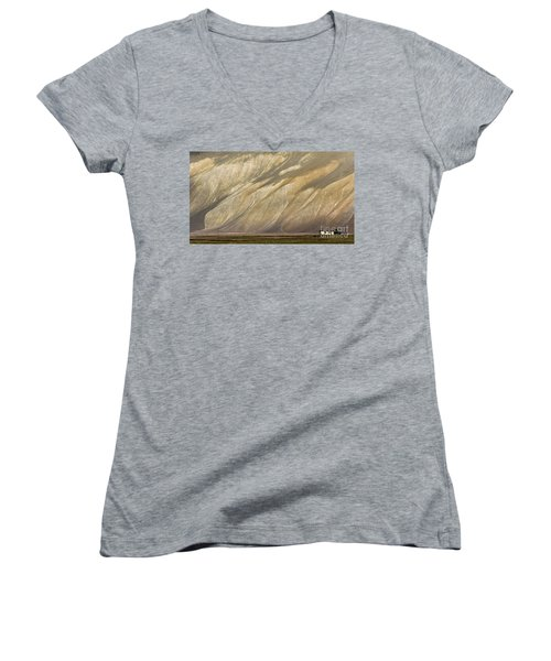 Women's V-Neck T-Shirt featuring the photograph Mountain Patterns, Padum, 2006 by Hitendra SINKAR