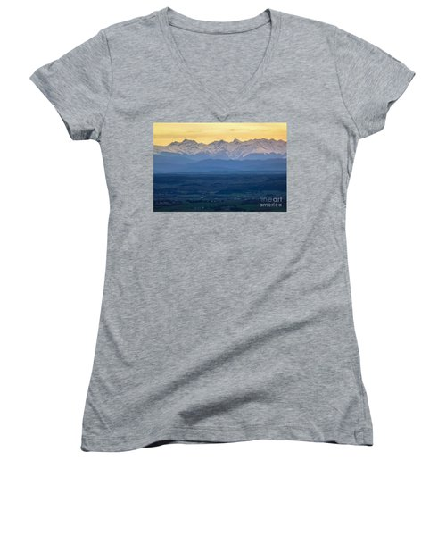 Mountain Scenery 15 Women's V-Neck T-Shirt (Junior Cut) by Jean Bernard Roussilhe