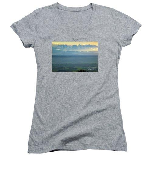 Mountain Scenery 18 Women's V-Neck T-Shirt (Junior Cut) by Jean Bernard Roussilhe