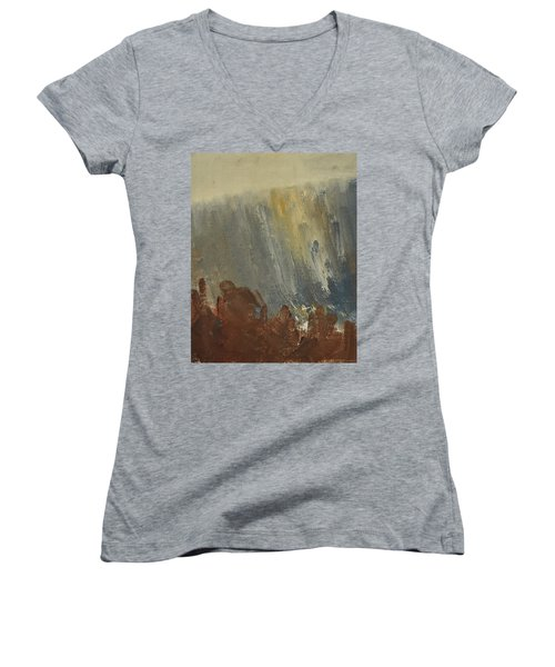 Mountain Side In Autumn Mist. Up To 90x120 Cm Women's V-Neck