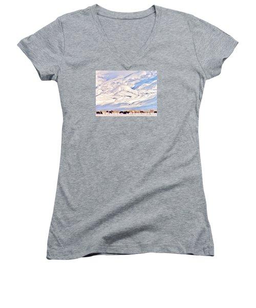 Mountain Snow Women's V-Neck T-Shirt (Junior Cut) by Marilyn Diaz