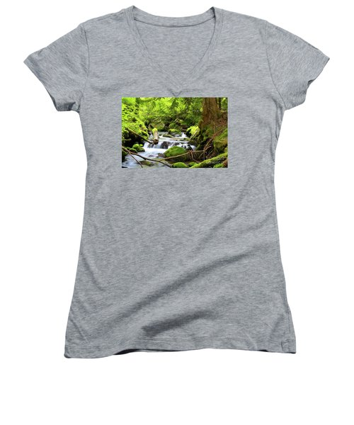 Mountain Stream In The Pacific Northwest Women's V-Neck T-Shirt