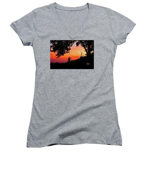 Women's V-Neck T-Shirt (Junior Cut) featuring the photograph Mountain Sunrise by Meta Gatschenberger